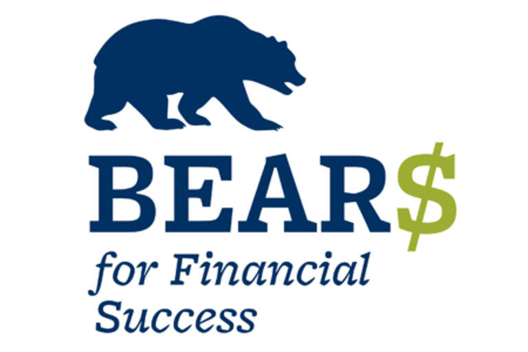 bears for financial success logo with blue text and a cartoon bear