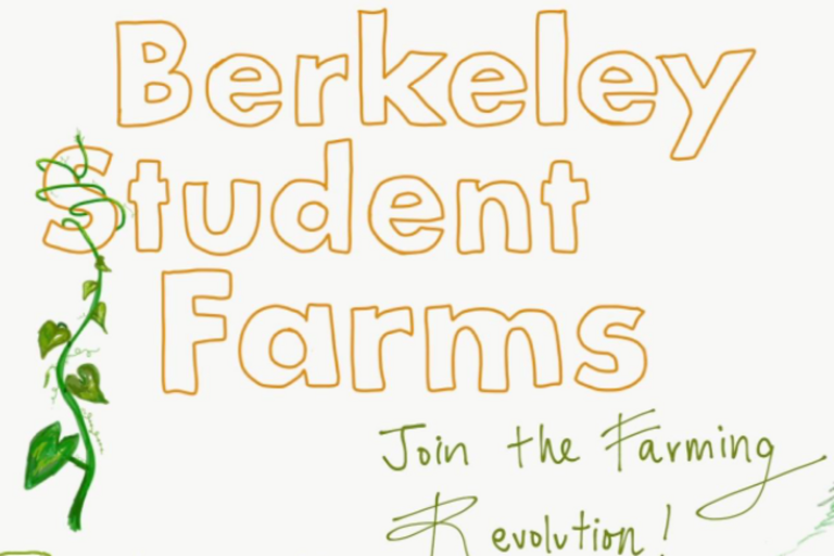 berkeley student farms in orange block letters with vines crawling