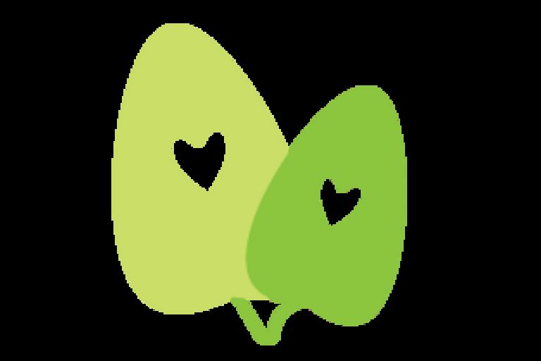 Cartoon leaf and hearts