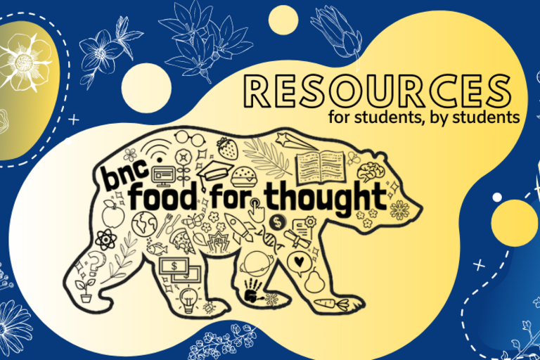"food for thought logo with blue and yellow bear and text ""resources for students, by students"""