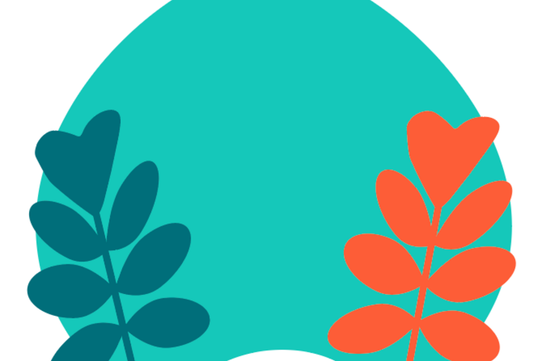 leaves atop teal background background