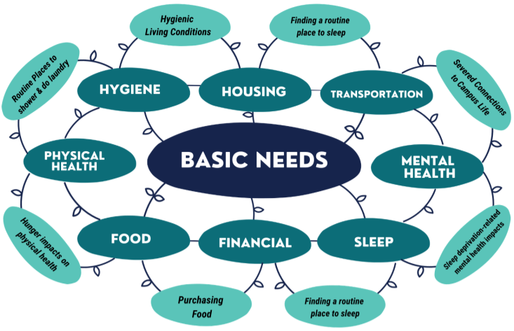 A diagram with 8 symbols representing all 8 basic needs areas (housing, food, finance, transportation, physical health, mental health, hygiene, sleep) to show how everything is connected.