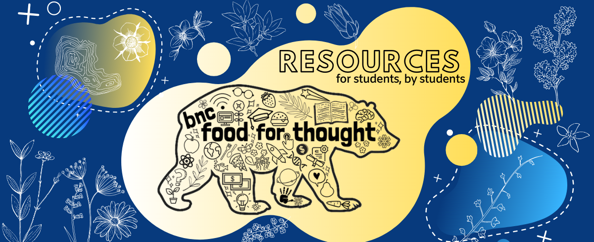 """food for thought logo with blue and yellow bear and text """"resources for students, by students"""""""