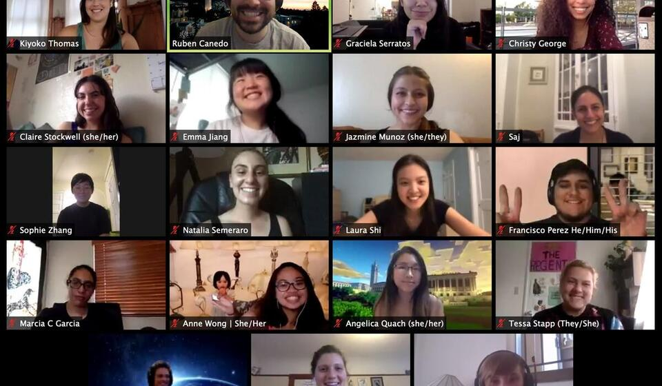 Zoom screenshot of smiling basic needs staff