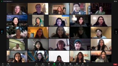 zoom screenshot of interns smiling